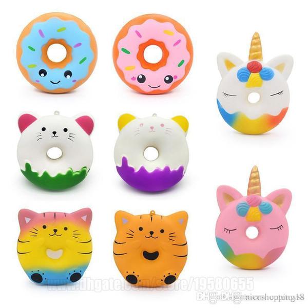 Yeni Donuts Squishies Çörek Unicorn Squishy Yavaş Yükselen Kedi Gıda Bun Telefon Kolye Ücretsiz Kargo