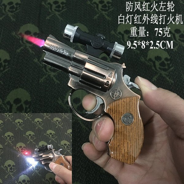 New Arrival Genuine Model Revolver 357 Model Gun Lighter With Infrared Torch White LED Lamp Inflatable Torch Windproof Gun Lighter