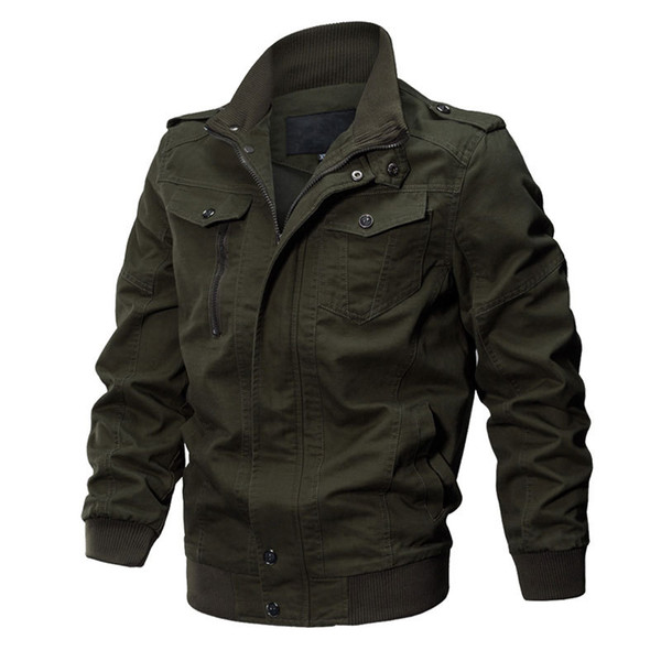 Plus Size 6XL Jacket Men Autumn Cotton Washed Coat Pilot Jacket Winter Bomber Cargo Flight Men Jaqueta Masculina
