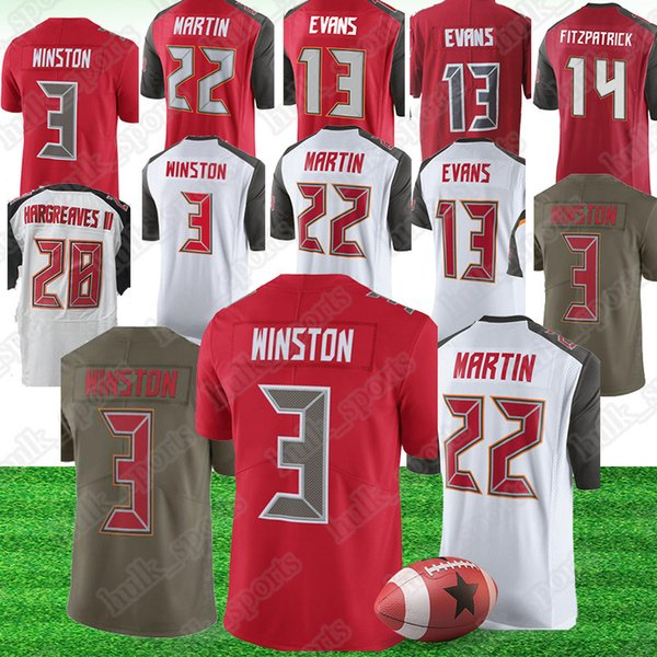 timeless design 85430 7afb7 2019 Tampa 3 Jameis Winston Buccaneer Jerseys 14 Ryan Fitzpatrick 13 Mike  Evans 22 Doug Martin 28 Vernon Hargreaves American Football Jerseys From ...