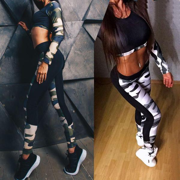 Vêtements de yoga pour femmes vêtements de yoga à séchage rapide femmes ensemble leggings camouflage soutien-gorge patchwork fitness jogging vêtements 2018 femme sport # 120126