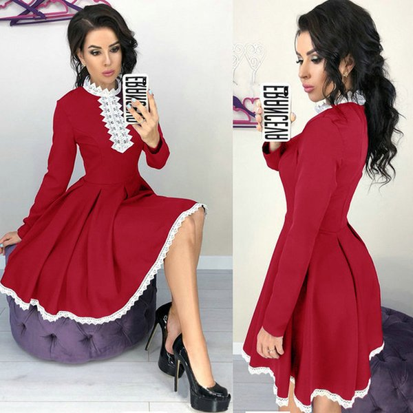 Autumn Winter Women Long Sleeve Patchwork Lace Dress Fall Fashion Casual Crochet Lace A-Line Mini Red Dresses