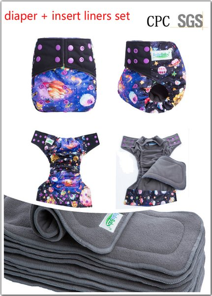 Bamboo Charcoal 8 set/pack Washable Infant Reusable Nappy Adjustable Baby Girl Boys Cloth Diapers Adjustable Diaper Covers Training Pants