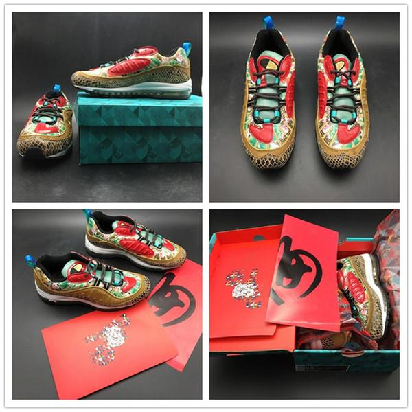 Celebrat das Jahr des Schweins 98 Chinesische Neujahr Herren Laufschuhe Lotusblumen Chinesische Kunst 98s CNY Beige Multicolor Designer Sneaker