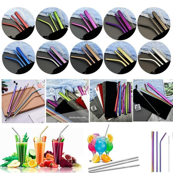 New Barware tools Stainless Steel Drinking Straws 10 Colors 215*6mm Colorful Rainbow Creative Reusable Bra fruit juic Coffee Tea Straws 4948