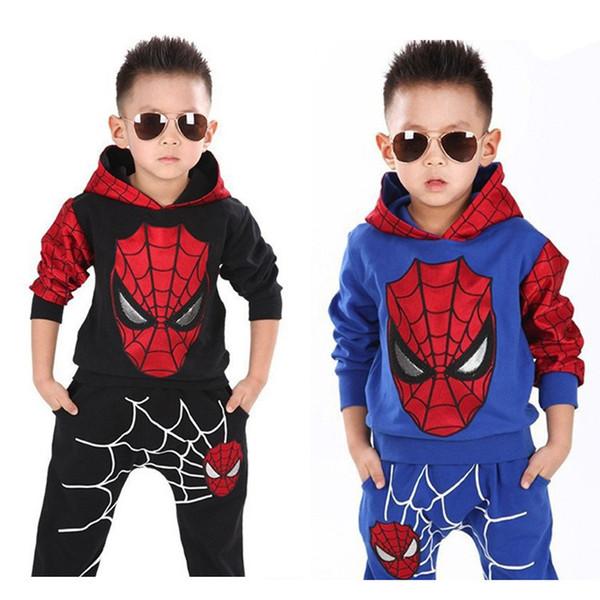 Nueva primavera otoño niños suéter Spider man manga larga con capucha casual niños dos piezas dibujos animados niños conjunto bebé niños ropa conjuntos B