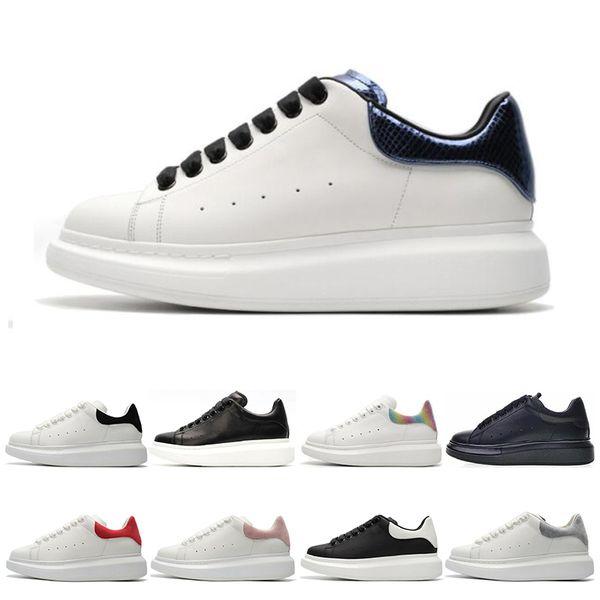 Alexander Mcqueen Mcqueens Yeni Siyah Beyaz Platformu Klasik Rahat Spor Kaykay Ayakkabı Mens Womens Sneakers Kadife Heelback Elbise Ayakkabı Spor Tenis