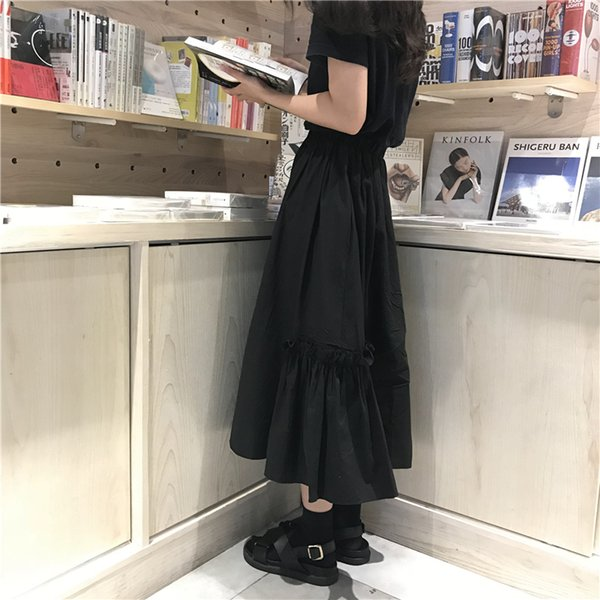 Autumn Solid Color High Waist Long Skirts Pleate Midi Skirts Womens (l385) Y19043002
