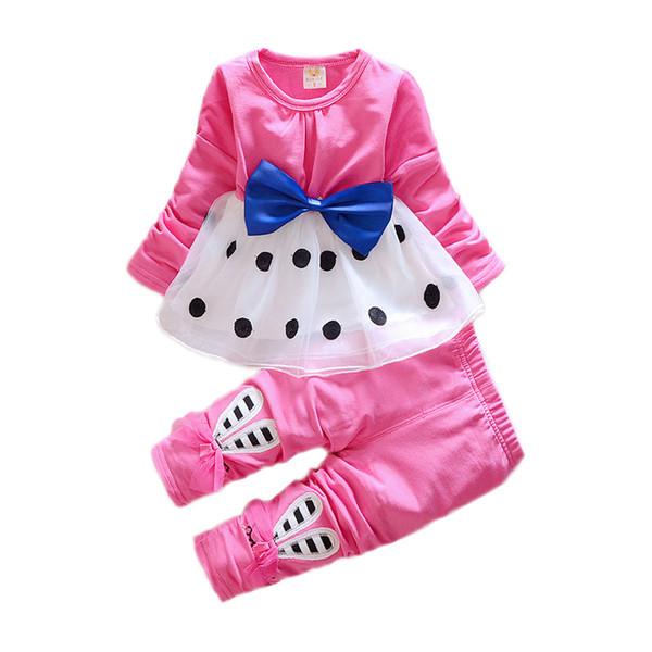 Дети девочка костюм повседневная одежда набор мультфильм с длинным рукавом осень-весна детский прекрасный костюм 1 2 3 4 лет Детская одежда