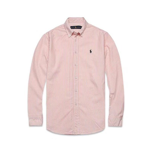 New spring and autumn men's high quality business fashion classic T-shirt men's Oxford fabric embroidery stripe long sleeve polo s