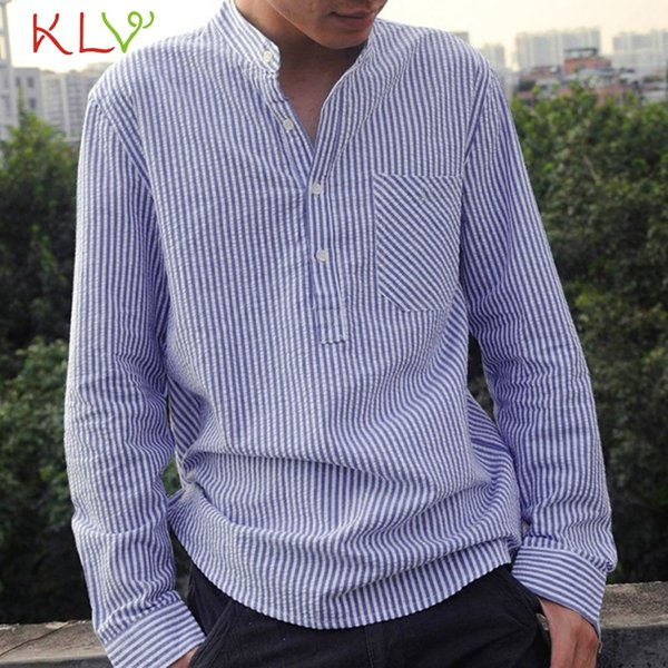 Blouse Shirt Men Casual Cotton Linen Long Sleeve Striped Office Fit Modis Shirt Harajuku Male Top Homme Jogging Clothes 19May17