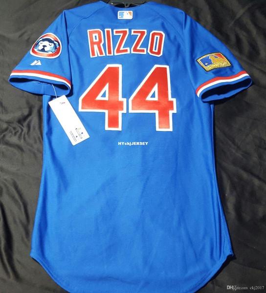 Billig! Majestic CHICAGO 44 # TBTC Anthony Rizzo AUF FELD Jersey Mens genähtes Großhandel groß und hoch Größe XS-6XL Baseball-Shirts