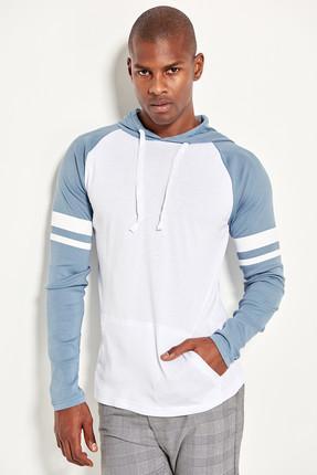 Blue Men's Hooded Sweatshirt Sleeve Printed TMNSS19VL0011