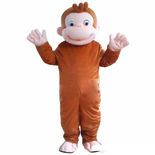 2019 High quality hot Curious George Monkey Mascot Costumes Cartoon Fancy Dress Halloween Party Costume Adult Size Free Shipping