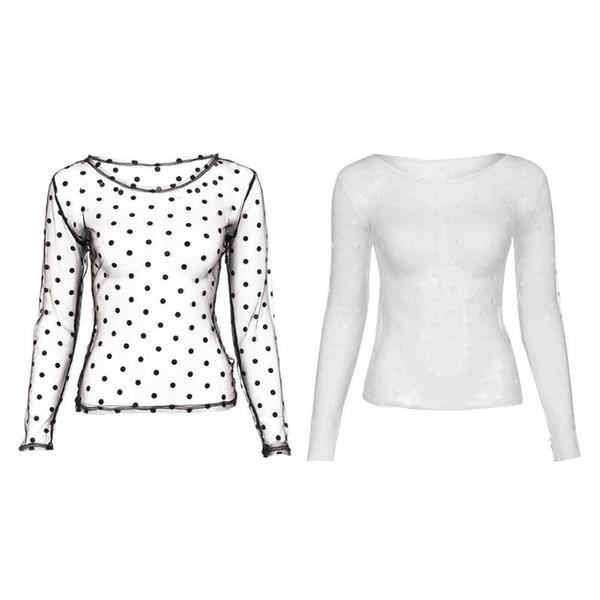 Women Tops Perspective Summer Sexy Polka Dot Mesh Blouse Women Fashion Casual Long Sleeve O-Neck Nightclub Shirts White Black