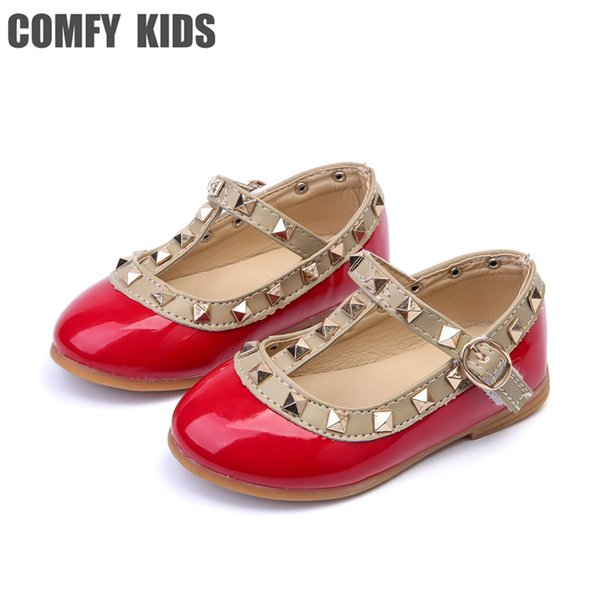 Comfy kids Baby Leather shoes child girls sandals shoes for girls leather princess shoe kids rivets flat fashion