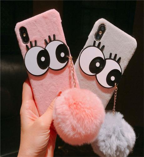 New mobile phone shell big eyes hair ball for iphone6 6plus flannel fur protection cover iPhone7/8plus female hard shell