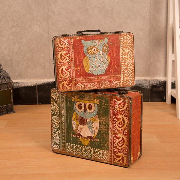 Saim Personality Small Portable Wooden Suitcase Antique Window Decoration Mini Retro Storage Box Suitcase Ornaments Gift JJ50652