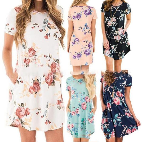 Para mujer vestidos florales 6 colores de verano de manga corta bolsillo mini vestido Ladies Beach Party Sundress OOA6600