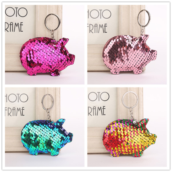 Fashionable Cute Pig Shape Key Chain Reflective Glossy Key Ring Gift Jewelry Women Phone Case Bag Wallet Accessories Chain