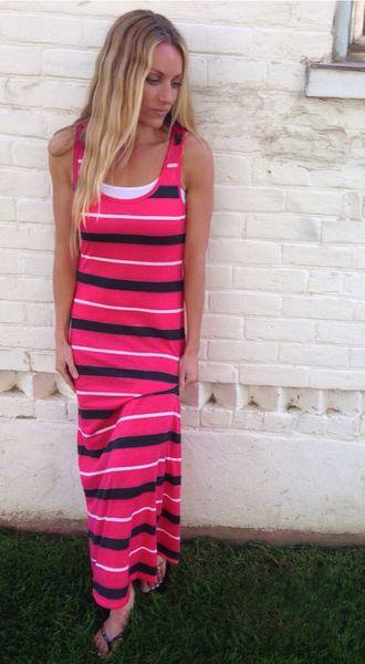 rosa y el vestido maxi rayas