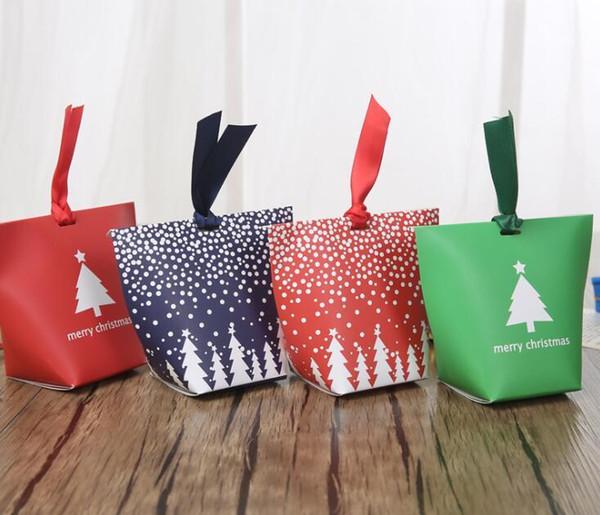 Natale Candy Box Chocolate Biscuit Box Bag partito dell'albero di Natale favore Albero presente del regalo del biscotto del contenitore di carta