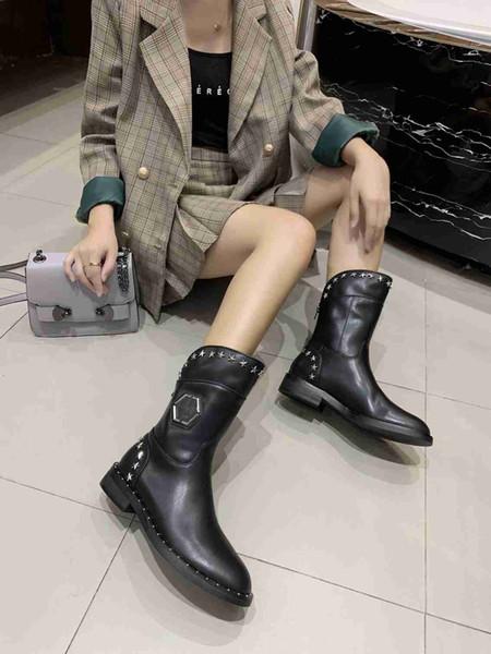 Stella con lo stesso design di lusso comma stivali da donna in pelle scamosciata in pelle Nuovo stivali di media lunghezza moda sexy stivali neri 35-41 yarde all'ingrosso