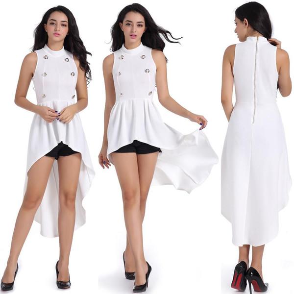 Button swallow tail dress fat mother large size long skirt women's leisure circle neck sleeveless.