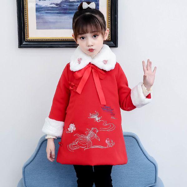 los niños de diseño abrigos de invierno muchachas cubren invierno de las muchachas de los niños de la niña de la chaqueta de los niños calientes ropa exterior rojo de lana abrigo de invierno bordado