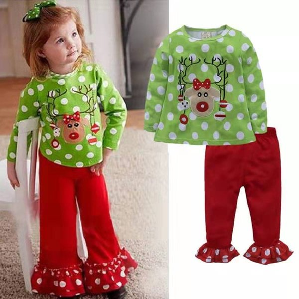 2019 kids designer clothes girls christmas suits baby cotton T-shirt and trousers 90-130cm kids girls clothes