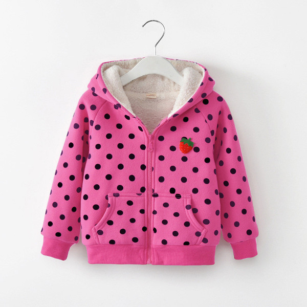 good quality winter children jacket girls dot outfits kids cartoon hoodies clothes warm outwear baby girls fashion coat clothing