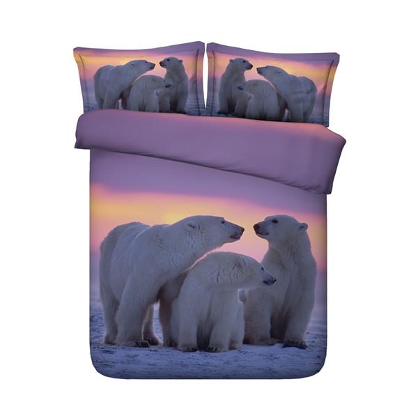 3D Printed White Polar Bear Bedding Set For Kids Girls And Boys Wildlife Theme 3 Pieces Duvet Cover Set 2 Pillow Shams NO Comforter With YKK