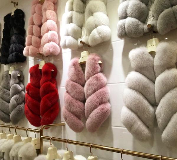 19ss Роскошные меховые жилеты Мода женщина Толстые пальто искусственной шерсти Fox Vest Shitsuke Fourrure Femme меха Жилеты Peel Женская куртка GILET Veste Outwear