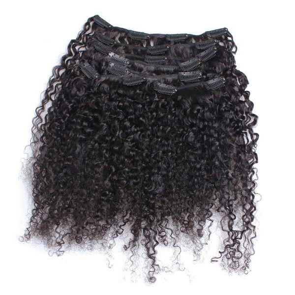 3B 3C Clip rizado rizado en extensiones de cabello humano Clip-ins mongol Color náutico Cabeza completa 9 piezas One Set Remy Hair 120G