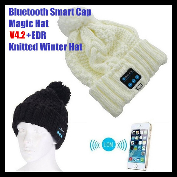 100pcs! Women&Girl's Wireless Bluetooth V4.2 Smart Woolen Beanie Winter Hat Headset Hands-free Music Magic Cap,Mp3 Speaker Mic