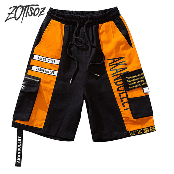 ZOTTSOZ Side Ribbon Zipper Pockets Cargo Baggy Shorts Men Hip Hop Color Block Patchwork Short Pants Fashion Male Shorts Trousers