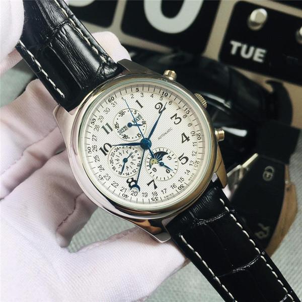 Новые 7-контактные роскошные часы Logine Automatic механические мужские часы модельера наручных часов Sapphire mirror ремешок из телячьей кожи Montre de luxe
