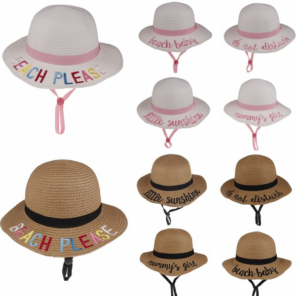 10styles enfants seau chapeau chapeau de paille sunhat plage d'été soleil chapeau mot casquettes de pêche bébé pêcheur de bande dessinée enfants plage bassin chapeaux FFA1922