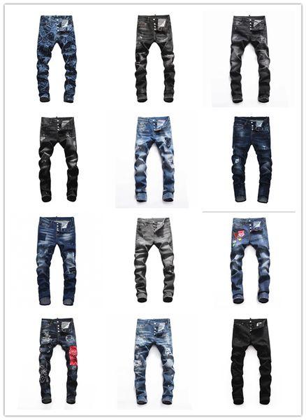 2019 Yeni ÜNLÜ Moda Tasarımcısı Sıkıntılı Ripped erkek Kot Motosiklet Biker Jeans Nedensel DELİK Kot Pantolon Streetwear # 6612 erkek Kot