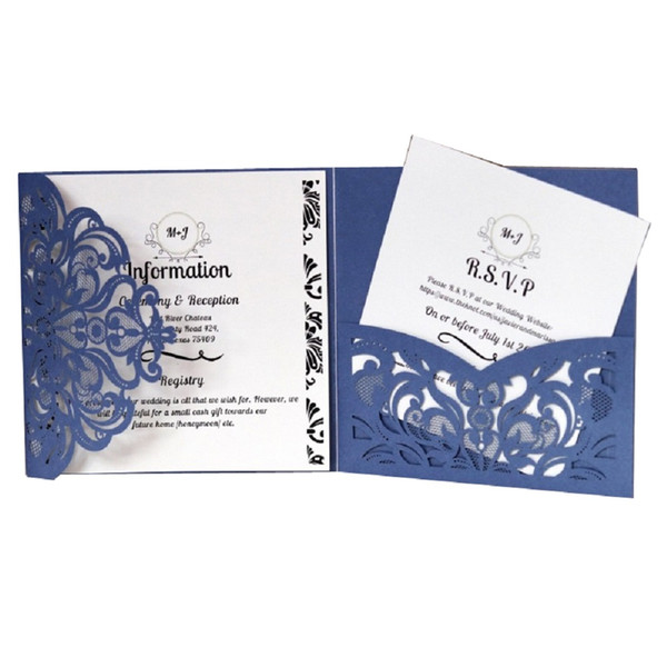 Laser Cut Business Invitation Invites Cards Birthday Party Favor Wedding Invitations Card Holder Gold Blue White Christmas Card Online Free Christmas