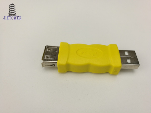 500pcs/lot USB connector yellow color USB 2.0 A male Plug to A female jack adapter AM to AF USB converter