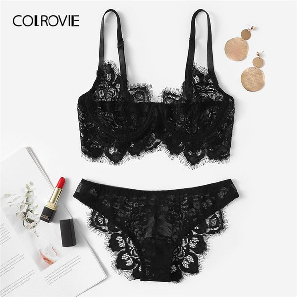 COLROVIE Black Eyelash Lace Ensemble de lingerie sexy Briefs Femmes Intimates 2019 See Through Transparent Underwire Underwear Bra Set