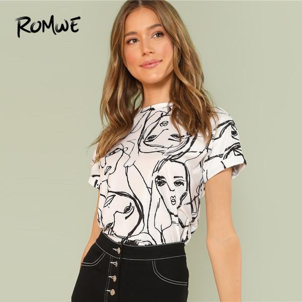 Romwe Cartoon Print Tunic Top 2019 Casual Black And White Summer Short Sleeve Figure Women T-shirt Females Round Neck Tops SH190701