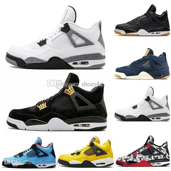 Newest Bred 4 4s What The Cactus Jack Laser Wings Mens Basketball Shoes Denim Blue Pale Citron Men Sport Designer Sneakers Outdoor Eur 36-47