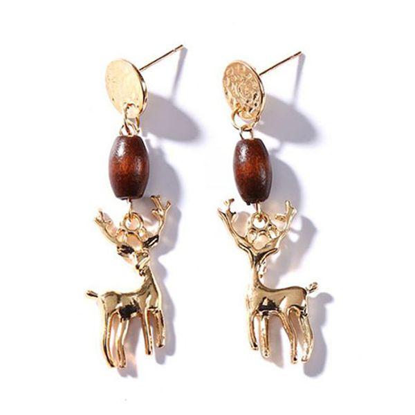 Mode vintage antique boucles d'oreilles cuivre doré Antlers tête de cerf oreille marteau haute qualité livraison gratuite