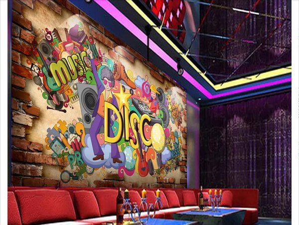 Custom 3d photo murals wall paper home decor 3D three-dimensional nostalgic brick wall graffiti tooling KTV bar background wall