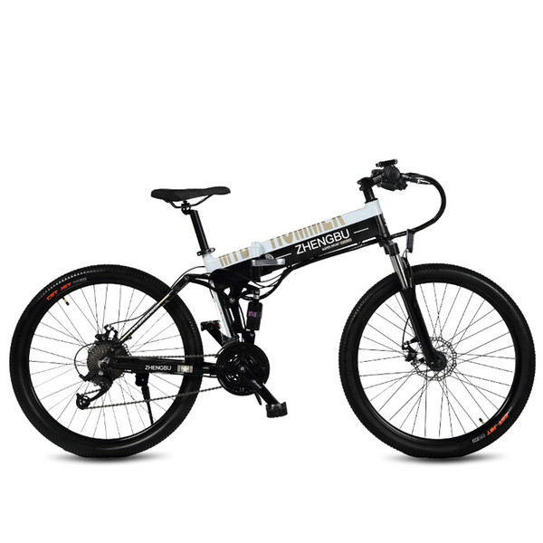 26 Inch Folding Ebike, 27 Speed Mountain Bike, 240W 48V 10Ah, Aluminum Alloy Frame and Rim, Full Suspension Electric Bicycle