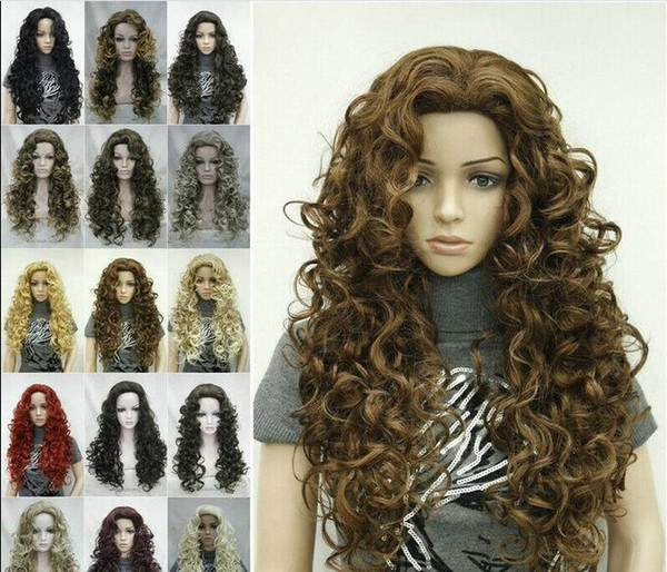 Free shipping>>>Hot Sell Synthetic Long Fluffy Spiral Curls Wig Hair Natural Daily Wigs for Women