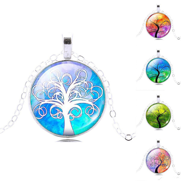 2019 New Retro Life tree pendant necklace Gemstone cabochon silver statement chain Necklace Glass Cabochon Pendant Jewelry for Women