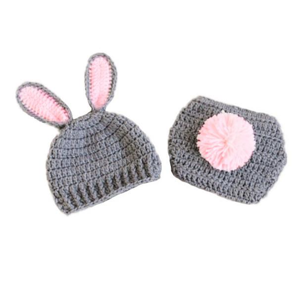 Niedliche Neugeborene grau rosa Osterhase Kostüm, handgefertigte stricken häkeln Baby Boy Girl Rabbit Bunny Hut und Windel Cover Set, Säuglingsfoto Prop